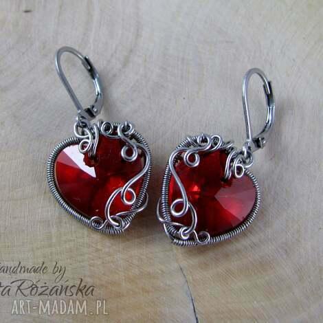 kolczyki swarovski xilion heart light siam, wire wrapping, kolczyki, serce, stal