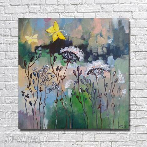 paulina lebida łąka z żółtymi motylami -obraz akrylowy formatu 30/30 cm, motyle