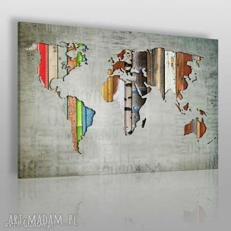 obrazy obraz na płótnie - mapa paski 120x80 cm 16901 , mapa, paski, kontynenty