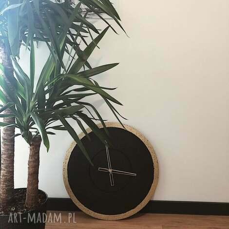 ręcznie wykonany duży betonowy zegar ścienny groove, zegar