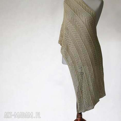 zŁoty aŻurowy szal - szal, ażurowy, dzianina, knitwearfactory, elegancki