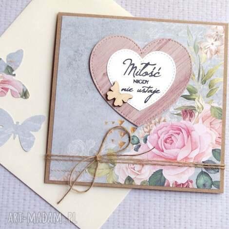 miłość nigdy nie ustaje kartka handmade, ślub, ślubna