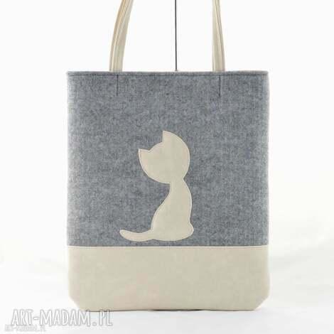 duża szara torebka z filcu - beżowym kotkiem - a4, filc, torebka