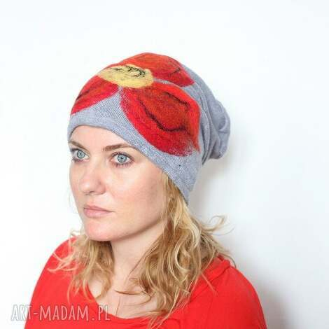 czapka handmade czesanką filcowane czapki - wełna, ludowe, etniczna, czapka