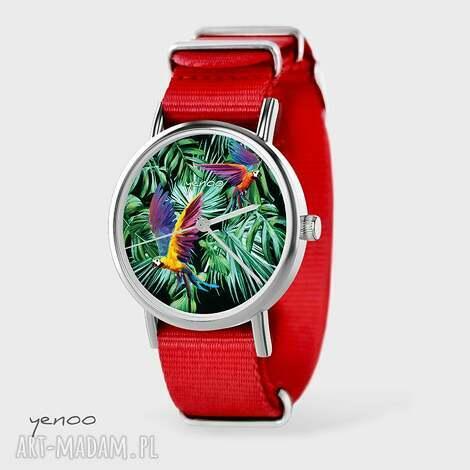 zegarek, bransoletka - papugi czerwony, nato, palmy, liście, zegarek