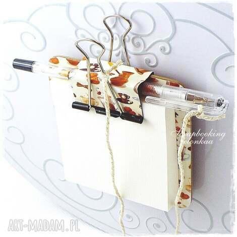 magnesy notesik z magnesem - wzór kawa, notes, magnes, lodówka, długopis, klips