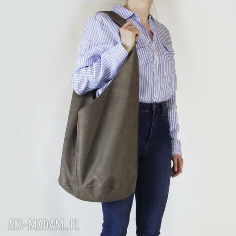 short boogi bag - torba w stylu boho na ramię, grafitowa, przecierana, vegan