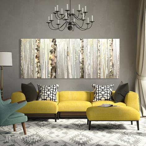 obraz na płótnie - 150x60cm las brzÓz 02148 wysyłka w 24h, las, brzozy, pejzaż