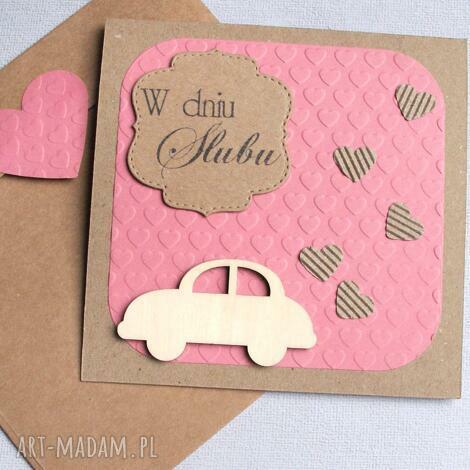 kartka ślubna brum ii dusty pink, auto, ślub