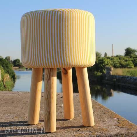 pufa żółte paseczki - 45 cm, puf, taboret, hocker, vintage, siedzisko, stołek