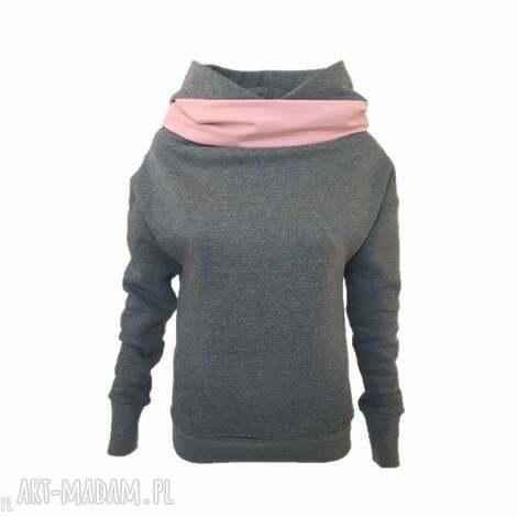 bluza z kominem i kapturem brudny róż, gruba-bluza, bluza-z-kapturem, ciepła-bluza