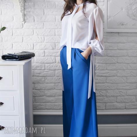 bien fashion niebieskie spodnie z szerokimi nogawkami, szerokie, eleganckie