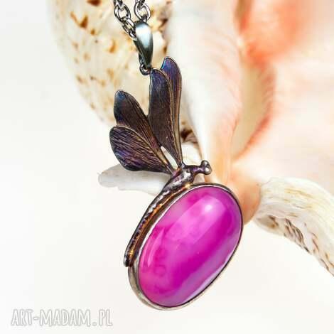 ważka z różowym agatem naszyjnik srebrny a568 - naszyjnik-srebrny