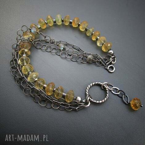 bransoletki bransoletka z cytrynu, srebro, oksydowane, cytryn, biżuteria