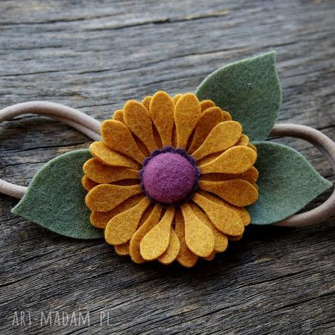 ozdoby do włosów opaska jesienny kwiat, filc, sesjafoto, niemowleca