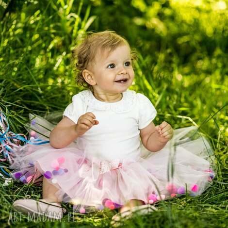 spódnice spódniczka tiulowa z pomponikami pink bow, pompony, pomponiki, tiul