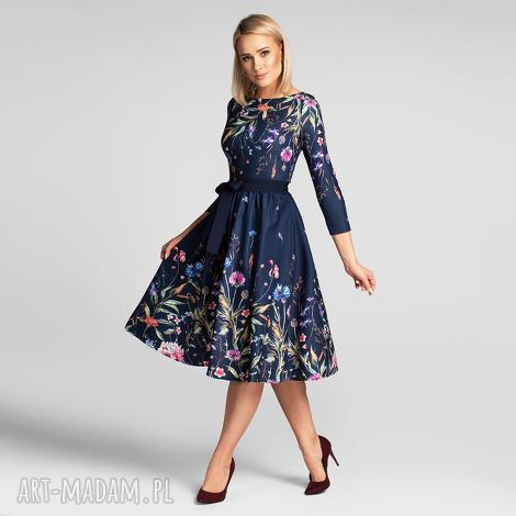 sukienki sukienka marie 3/4 midi lorena, midi, rozkloszowana