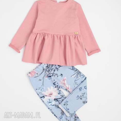komplet tunika i spodnie w kwiaty, tunika, baskinka, flowers