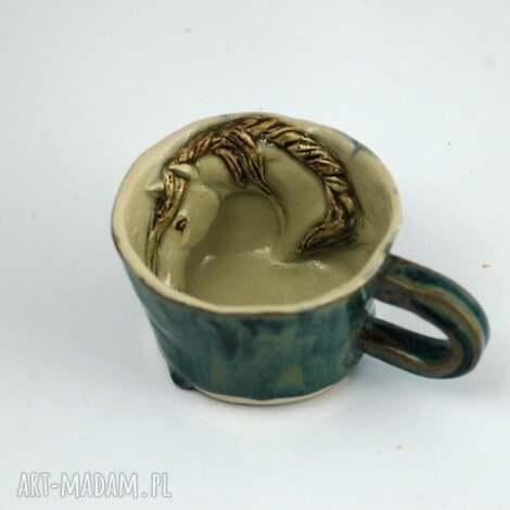 azulhorse ceramiczna filiżanka kubek z figurką konia niebieska, kubek, zkoniem