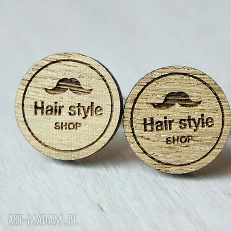 dębowe drewniane spinki do mankietów barber shop - drewniane, spinki, barber, hair