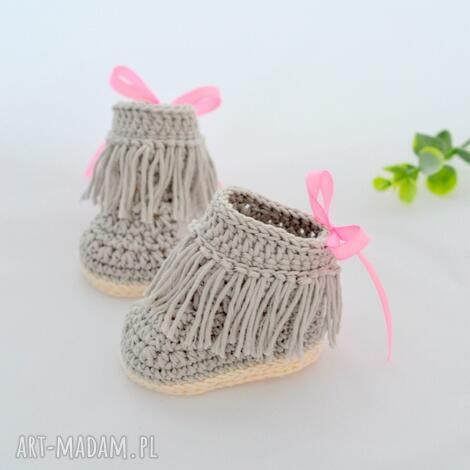 buciki botki niechodki z frędzlami, buciki, niechodki, botki, buty, niemowlaka