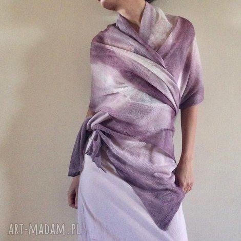 elegancki lniany liliowy szal - elegancki, szal, lniany, ślub, prezent, wizytowy