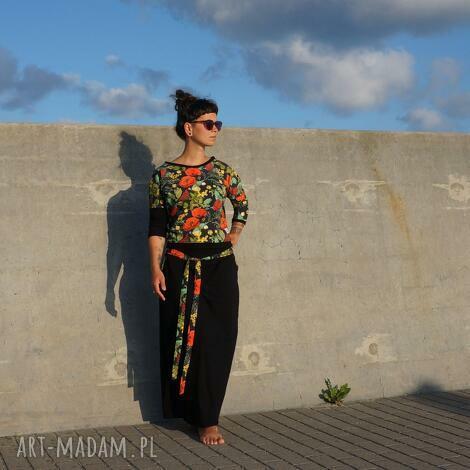 komplet bluza i spódnica - maki, bluzka, czarna długa