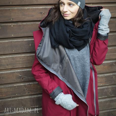 bordowy płaszcz, kurtka oversize ogromny kaptur na jesień zimę xs, bordowa