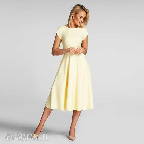 sukienki sukienka klara total midi pastelowy żółty