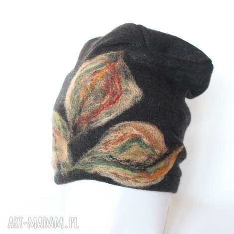 czapka wełniana damska czarna - wełna, zima, kwiaty, czapka, etno, prezent