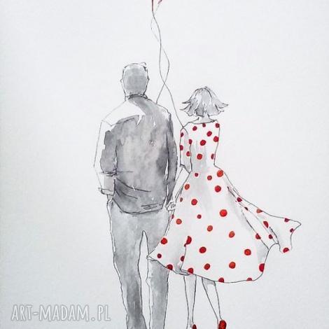 wspólny kierunek praca akwarelą i piórkiem artystki plastyka adriany laube, miłość