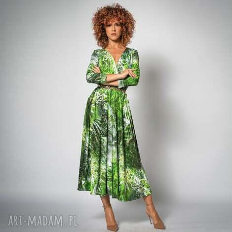 amelia - dżungla rozkloszowana sukienka, koktajlowa, elegancka, rozkloszowana
