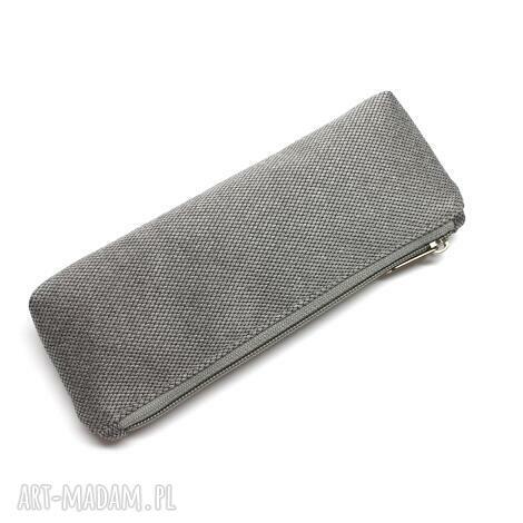 torebki niezwykle piórnik - tkanina szara, elegancki, nowoczesny, prezent
