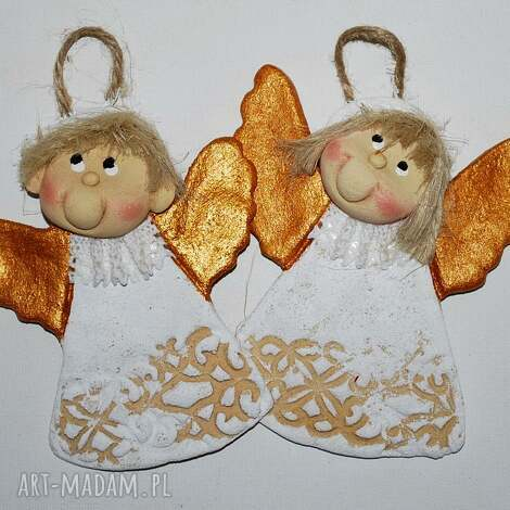 ładny prezent - aniołki z masy solnej - anioły, na prezent, dla gości