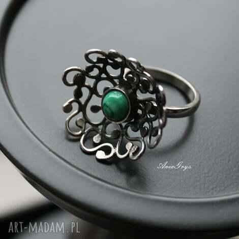 pierścionki meduza, oksydowany, pierścionek, malachit, półkula, gwiazdoo