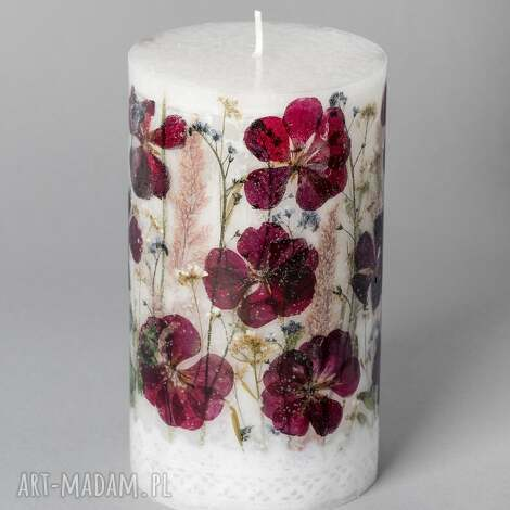 duża świeca z suszonymi kwiatami pelargonie, pelargonia, kwiaty, folk, etniczne
