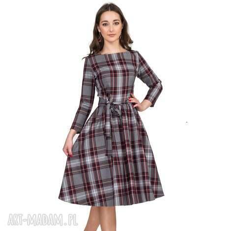 livia clue sukienka marie 3/4 midi dagmara, sukienka, kratka, midi, pasek