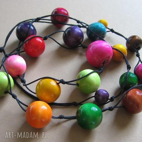 multicolor - długie korale - korale, naszyjnik, długie, drewno, kula