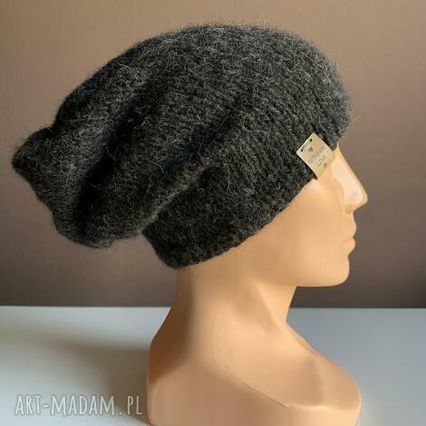 ręcznie robiona czapka hand made grafitt alpaka (czapki, na głowę)