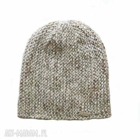 czapka 22 - czapka, melanżowa, dziergana, wełna, alpaka, unisex