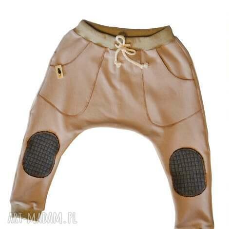 spodnie karmelowy beż baggy, spodnie, beż, karmel, sznurek, łaty