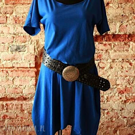 błękit nad sacharą-sukienka asymetryczna, bawełniana, sukienka, tunika, codzienna