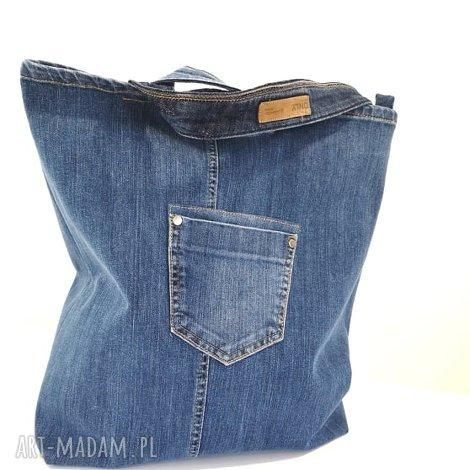 jeansowa torba z kieszonkami zapinana na zamek - torebka jeans, worek, dżins, denim