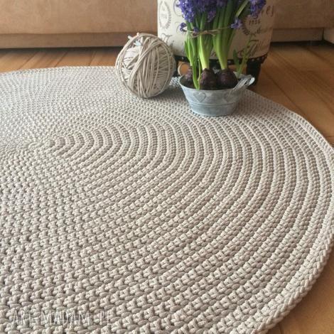 okrągły dywan ze sznurka bawełnianego - 140 cm, dywan, sznurka