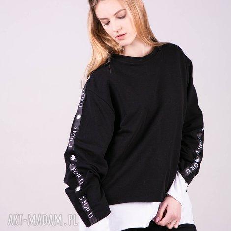 bluzki bluzka sportowa z lampasem monica-czarna, bluzki, spodnie, kurtki, bluzy