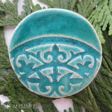 turkusowa broszka - turkus, ceramiczna