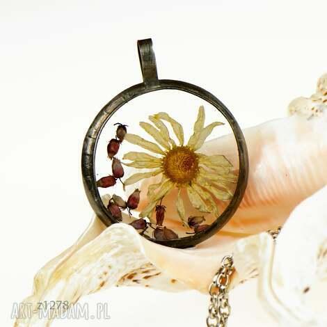 z1278 naszyjnik z żywicy z suszonymi kwiatami (real flower, terrarium naszyjnik)