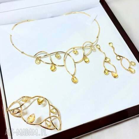 ręcznie wykonany złoty komplet z cytrynami, złoto, 14k, rękodzieło, cytryny