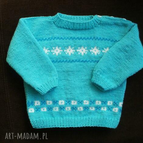 sweterek turkusowa fantazja, sweterek, rękodzieło, włóczka, niemowlę