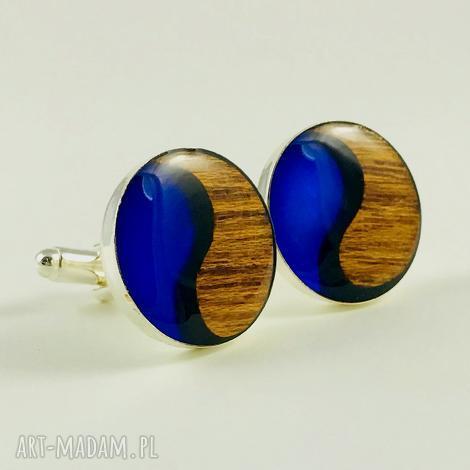spinki - simply yin yang - blue - spinki, yin yang, posrebrzane